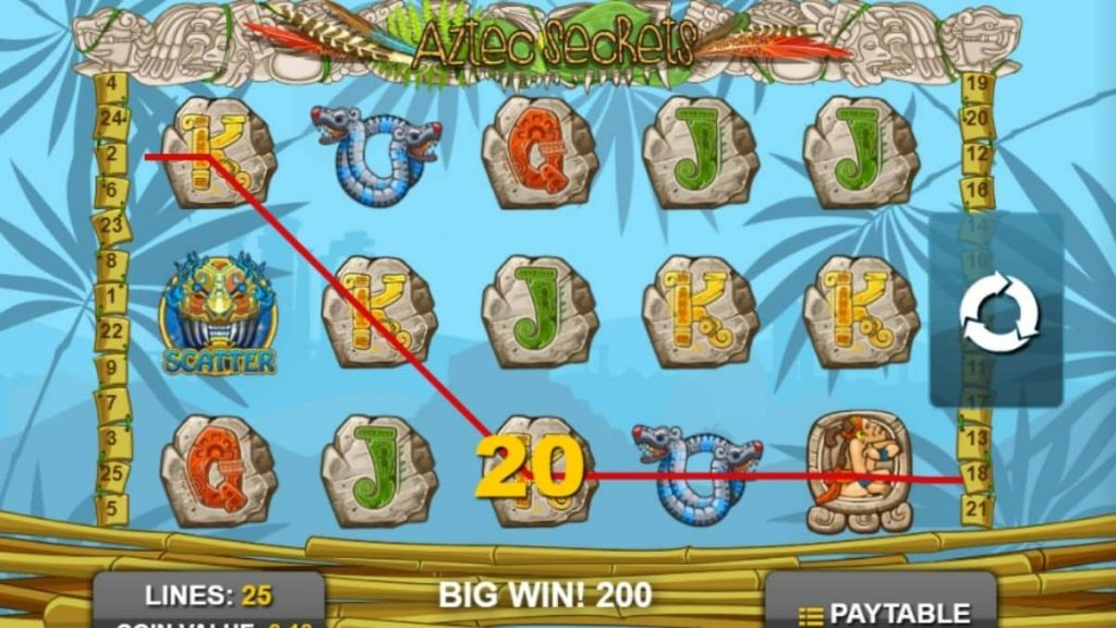 What are the game features of Aztec Secrets slot machine?
